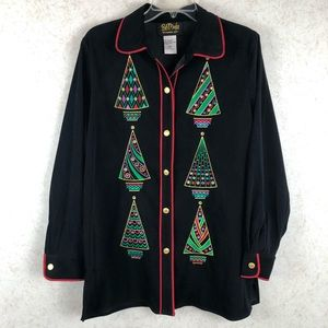 Bob Mackie button up Christmas tree jacket
